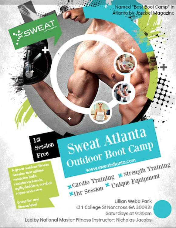 Sweat Atlanta Boot Camp Flyer (April 2016)